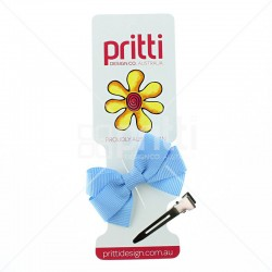 Cornflower Grosgrain Bow Clip - 10 per pack