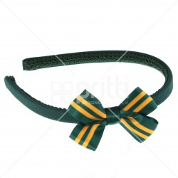 Bottle alice hairband with 22mm striped bow holly/gold - 10 pack