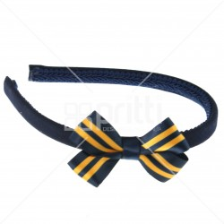Navy alice hairband with 22mm striped bow dark navy/gold - 10 pack