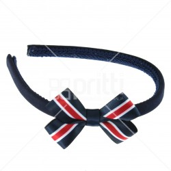Navy alice hairband with 22mm striped bow navy/white/red - 10 pack