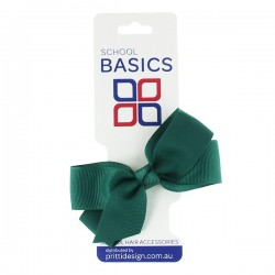 Bottle Green Small Jani Bow on Clip - 10 per pack