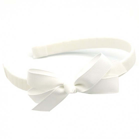 White Hairband with Jani Bow - 10 per pack