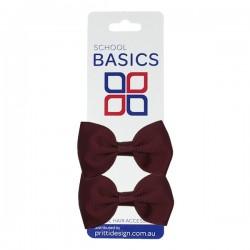 Wine Basic Grosgrain Bows on Elastic, Pair - 10 per pack