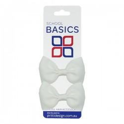 White Basic Grosgrain Bows on Elastic Pair - 10 per pack