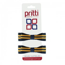 Dark Navy / Gold Double Bow Striped Pigtails  - 10 per pack