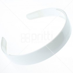 White Plastic Wide Hairband - 10 per pack