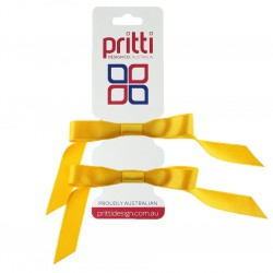 Bright Gold Satin Pigtail Bows - 10 per pack