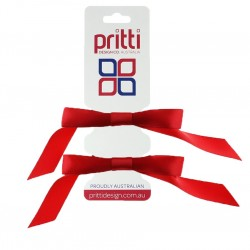 Red Satin Pigtail Bows - 10 per pack