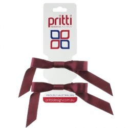 Burgundy Satin Pigtail Bows - 10 per pack