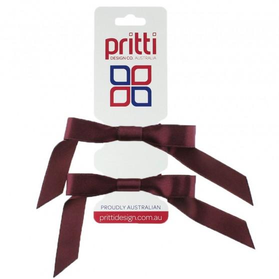 Wine Satin Pigtail Bows - 10 per pack