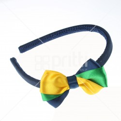 3 Colour Satin Bow Hairband - 10 per pack