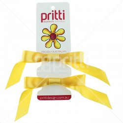 Gold Satin Pigtail Bows On Very Thin Elastic - 10 per pack