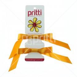 Marigold Satin Pigtail Bows - 10 per pack