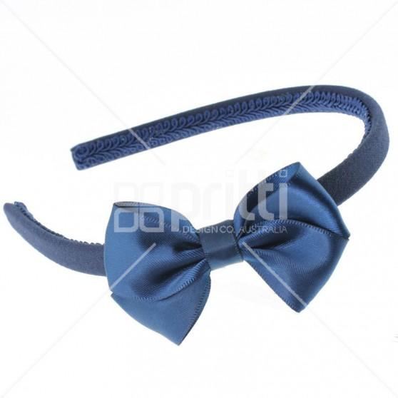Dark Navy Satin Bow Alice Hairband - 10 per pack