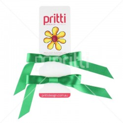 Emerald Green Satin Pigtail Bows - 10 per pack