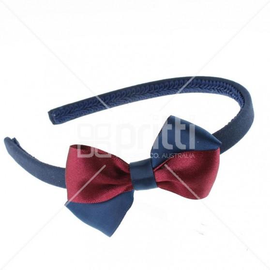 2 Colour Satin Bow Hairband - 10 per pack
