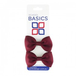 Maroon Basic Grosgrain Bows on Elastic, Pair - 10 per pack