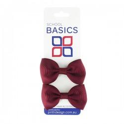 Maroon Basic Grosgrain Bows on Elastic, Pair - 10 per pack