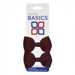 Wine Basic Grosgrain Bows on Elastic, Pair - 10 per pack
