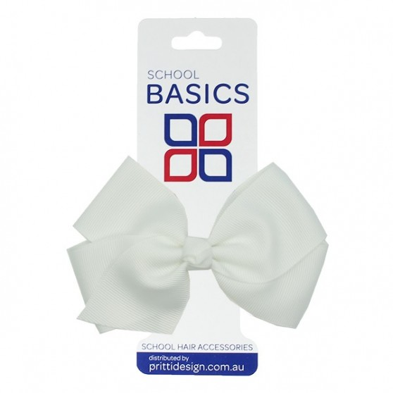White Large Jani Bow on Clip - 10 per pack
