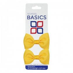 Gold Basic Grosgrain Bows on Elastic, Pair - 10 per pack