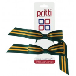 Holly / Gold Striped Pigtail Bows  - 10 per pack