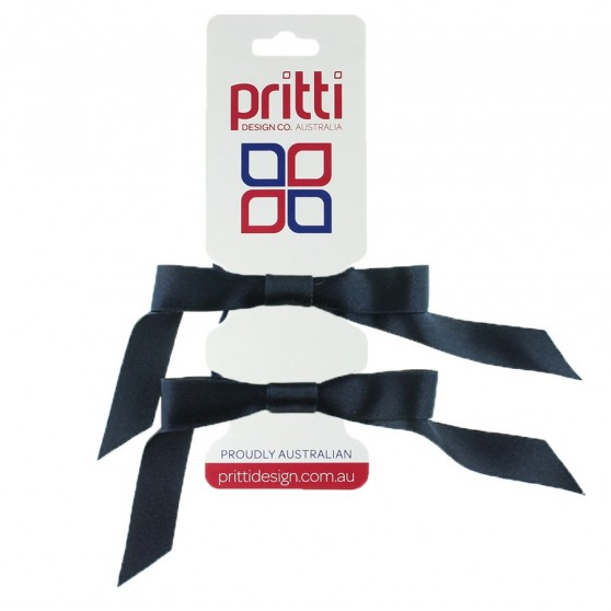 Midnight Satin Pigtail Bows - 10 per pack