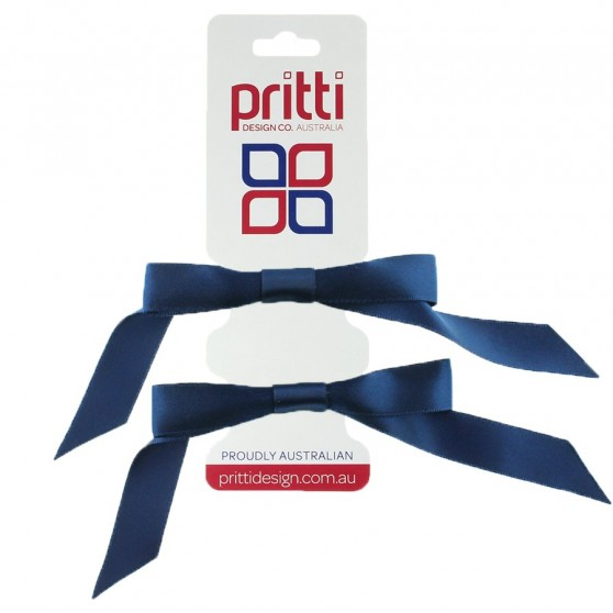 Dark Navy Satin Pigtail Bows - 10 per pack