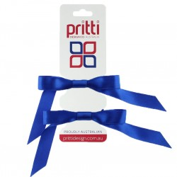 Royal Blue Satin Pigtail Bows - 10 per pack