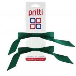 Dark Bottle Satin Pigtail Bows - 10 per pack