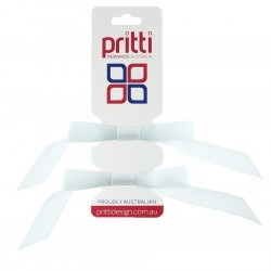 White Satin Pigtail Bows - 10 per pack