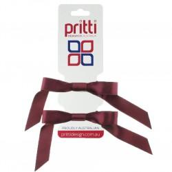Burgundy Satin Pigtail Bows - 10 per pack