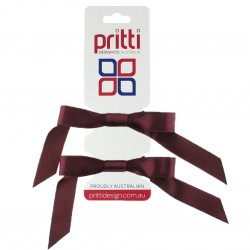 Wine Satin Pigtail Bows - 10 per pack
