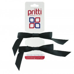 Black Satin Pigtail Bows - 10 per pack