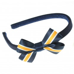 Navy / White / Gold Alice Hairband with 22mm Striped Bow  - 10 pack
