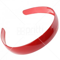 Red Plastic Wide Hairband - 10 per pack