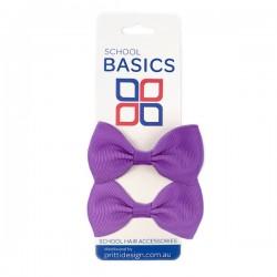 Purple Basic Grosgrain Bows on Elastic Pair - 10 per pack