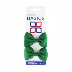 Emerald Basic Grosgrain Bows on Elastic Pair - 10 per pack